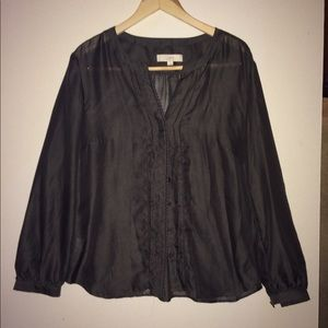 LOFT Sheer Button-down Blouse with ornate trim.